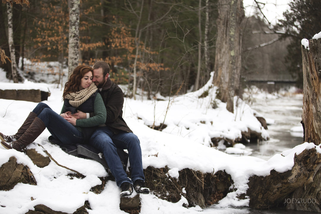 Almonte Engagement at the Mill of Kintail by Ottawa Wedding Photographer Joey Rudd Photography Winter creek