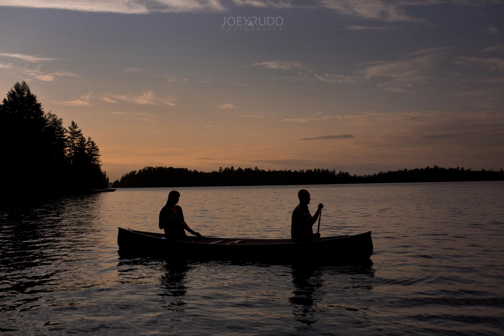 Cottage Engagement Session by Ottawa Wedding Photographer Joey Rudd Photography Canoeing Sunset