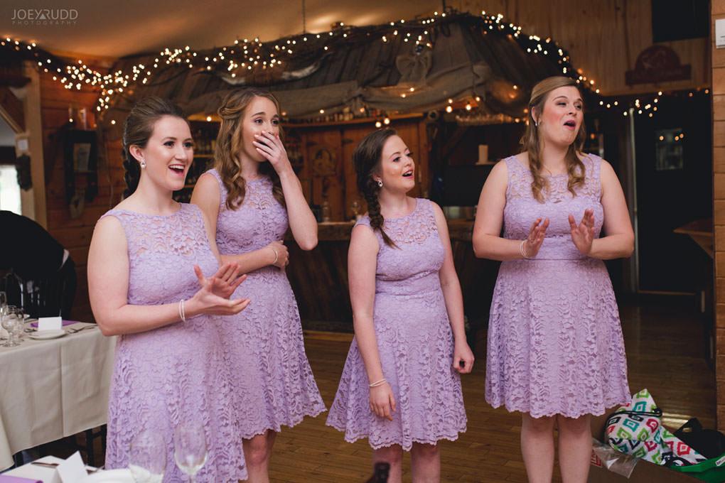 Bean Town Ranch Wedding by Ottawa Wedding Photographer Joey Rudd Photography Reaction First Look Bridesmaids Bride Wedding Dress