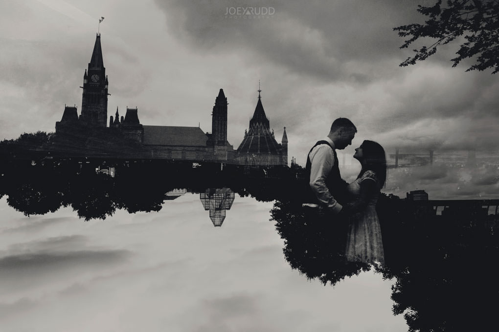 Ottawa Elopement Wedding by Ottawa Wedding Photographer Joey Rudd Photography Art Gallery Major's Hill Park Parliament Chateau Laurier Exceptional Ceremonies Double Exposure Multiple