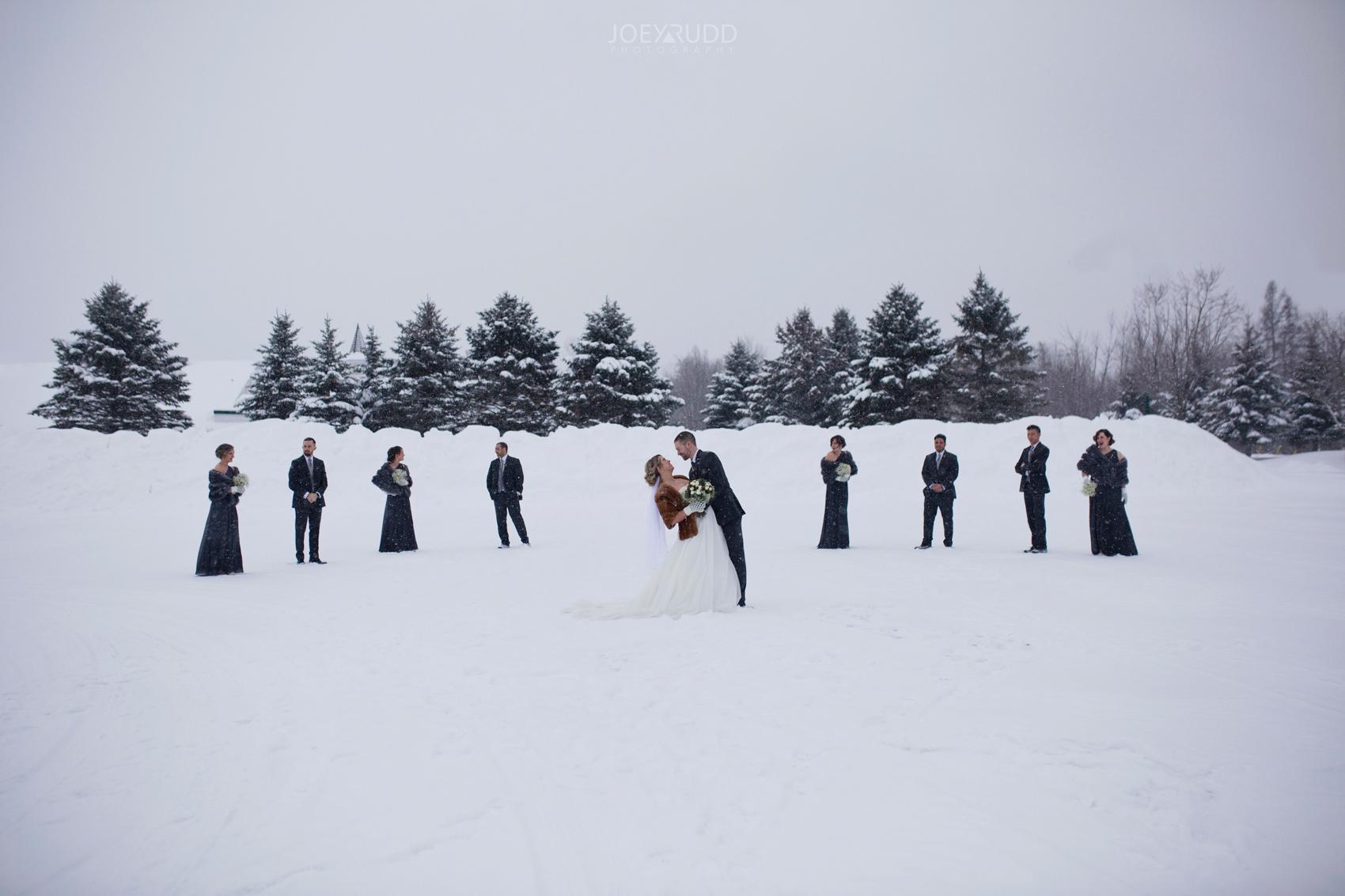 Winter Wedding in Ottawa at Greyhawk Golf Club by Ottawa Wedding Photographer Joey Rudd Photography Wedding Party Snow