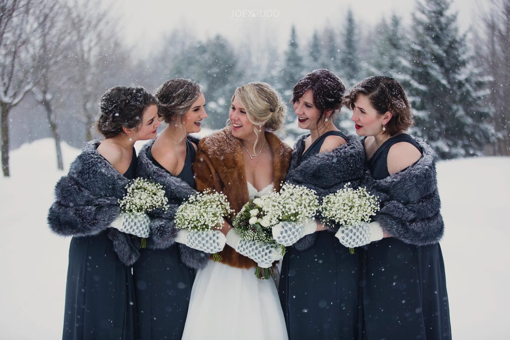 Winter Wedding in Ottawa at Greyhawk Golf Club by Ottawa Wedding Photographer Joey Rudd Photography Bridesmaids