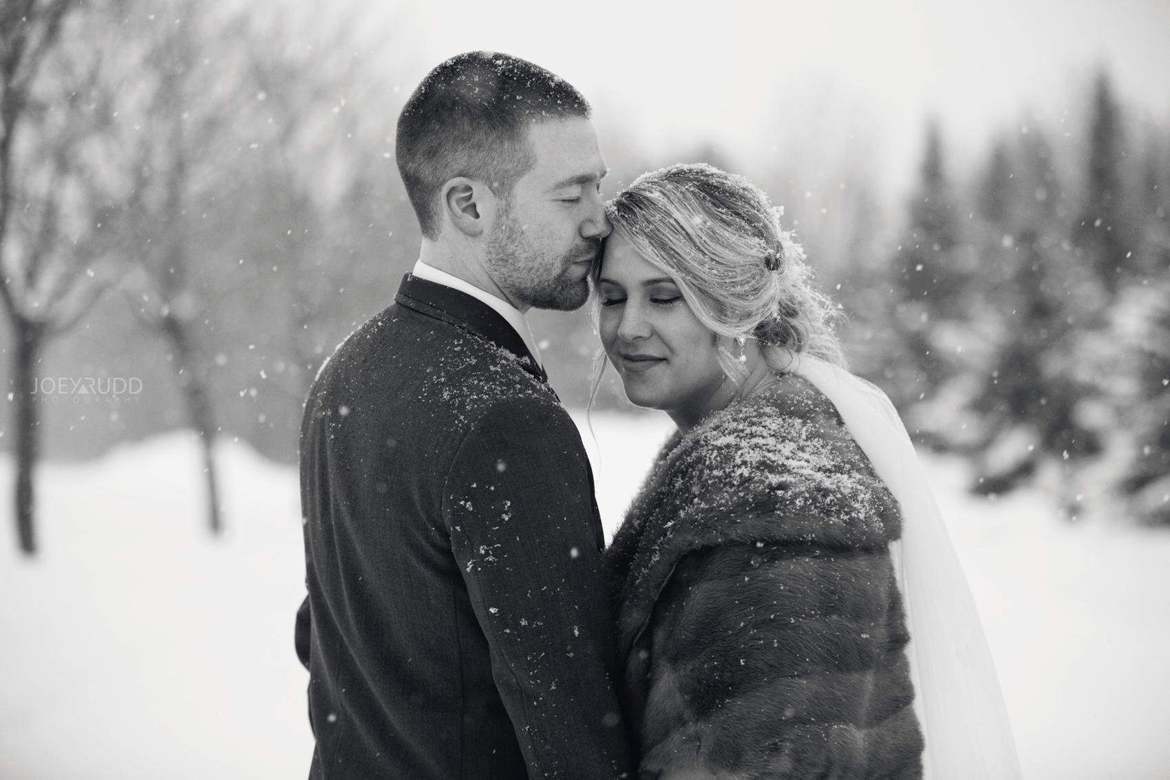 Winter Wedding in Ottawa at Greyhawk Golf Club by Ottawa Wedding Photographer Joey Rudd Photography Black and White