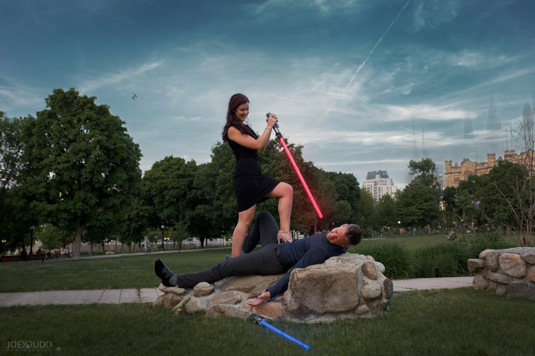 Engagement Photos, Ottawa Photographer, Ottawa Wedding, Ottawa Wedding photographer, downtown ottawa, chateau laurier, light leaks, fun, happy, enaged, photographer, joey rudd photography, lightsabers, star wars, unique, fight