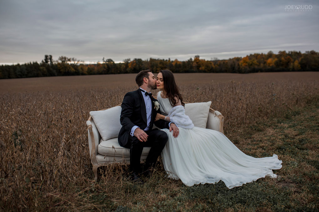 Evermore Wedding, Ottawa Wedding, Ottawa, Wedding Photography, Ottawa Wedding Photography, Ottawa Wedding Photographer, Engaged, Ottawa Photographer, Wedding Photos, Farm Wedding, Almonte Wedding, Ottawa Wedding Venue, Evermore wedding and events, Evermore, Wedding Photos in a field, Joey Rudd Photography, Elegant, Couch in field
