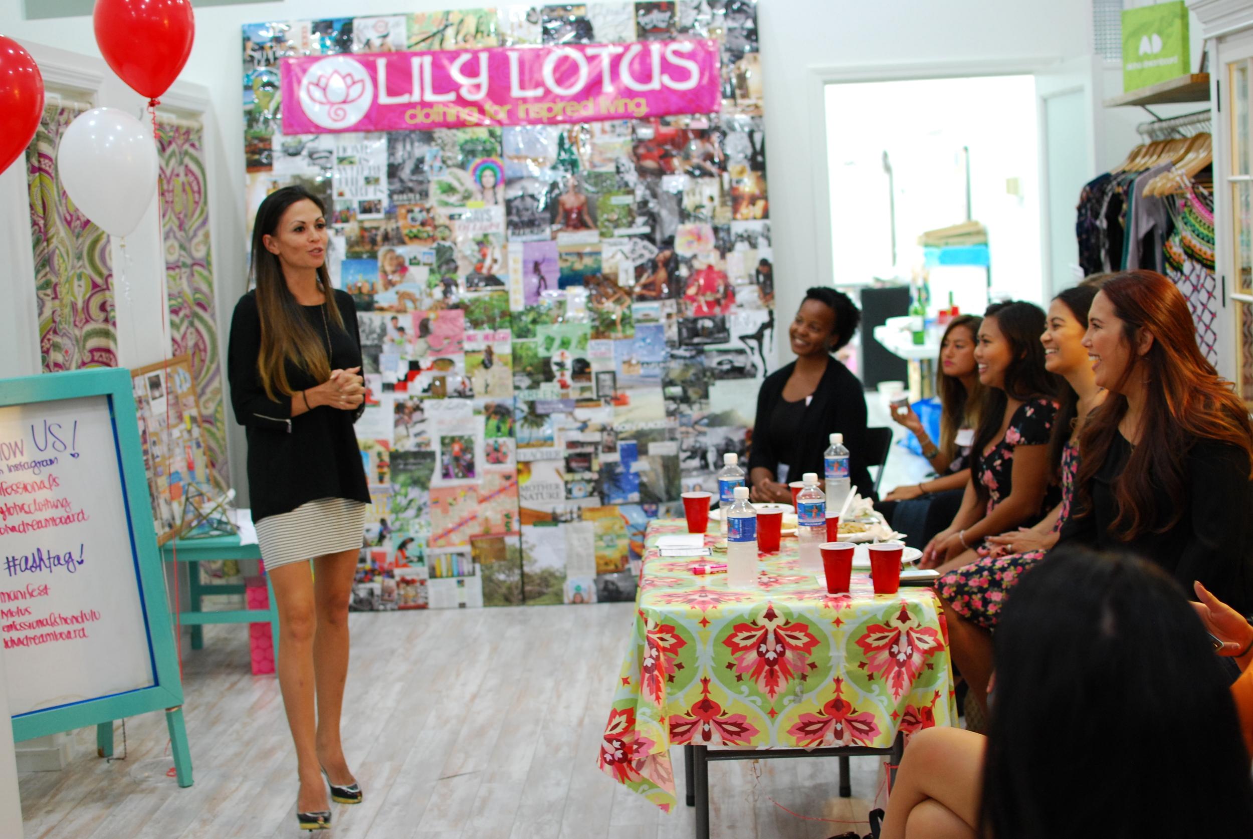 Owner of   Londyn Empire Fashions and Londyn Enterprises LLC,  Malia Beter sharing her Fem-Pitch- Photo Courtesy Nicole Kato
