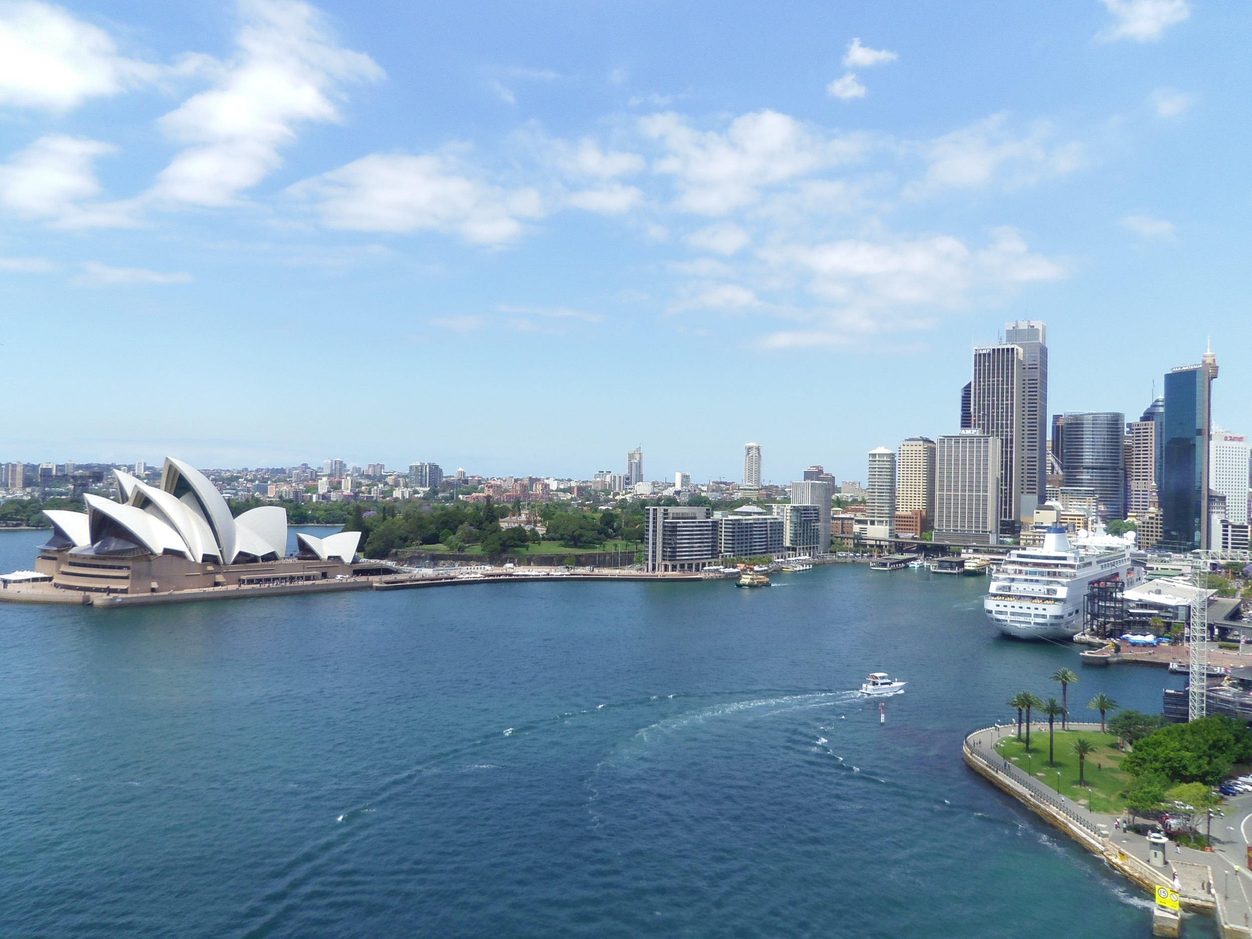 A view of downtown Sydney from The Sydney Bridge