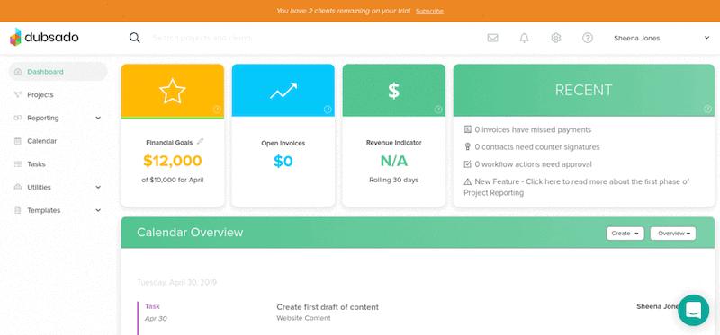 Dubsado dashboard and user homepage. Image source:  https://fitsmallbusiness.com/dubsado-reviews-pricing/