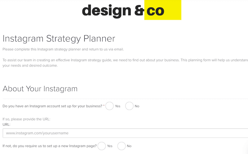One of Dubsado's form templates for a social media planner questionnaire. Everything is editable.