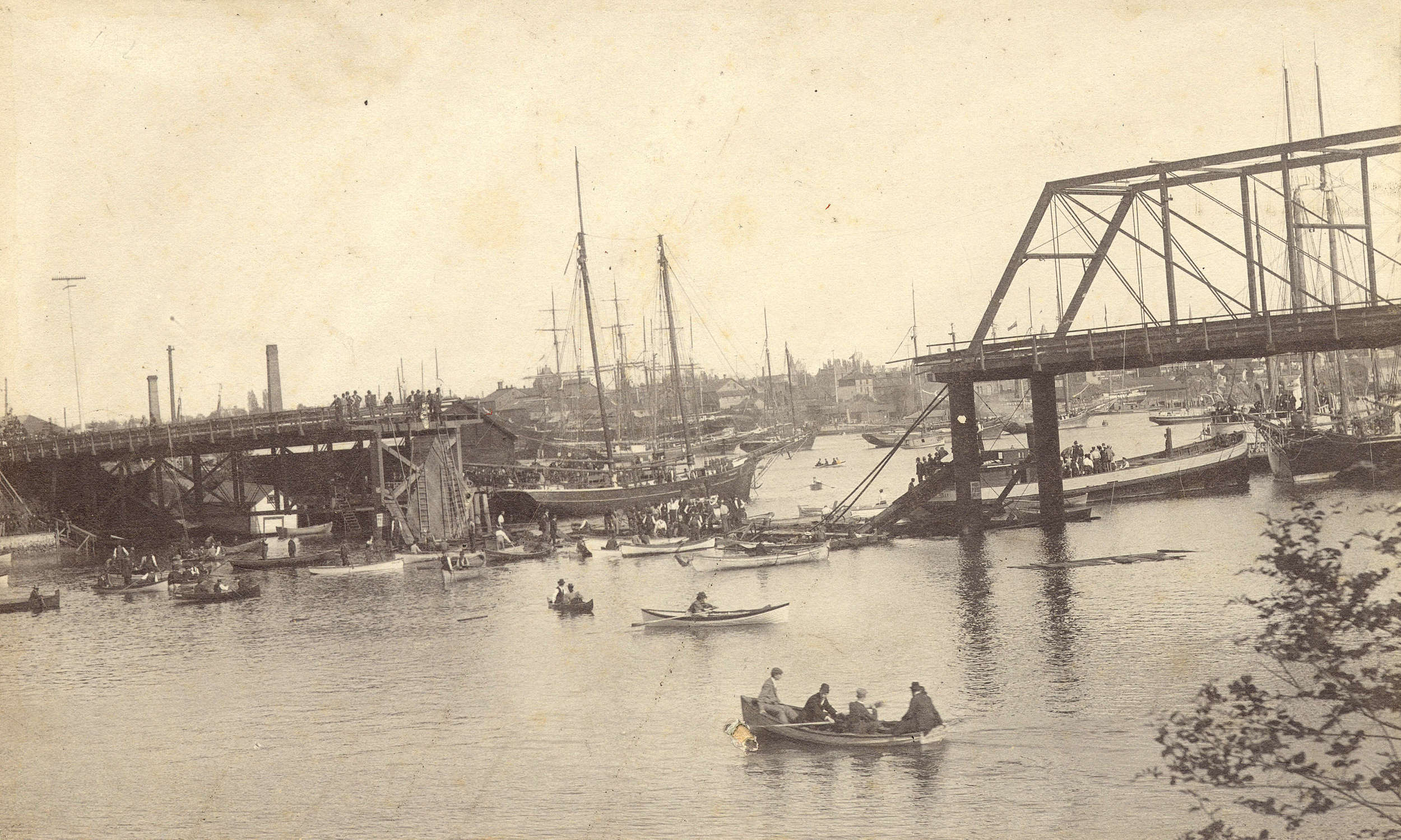 After the collapse of the mid-section of the Point Ellice Bridge, 1896. Photo Source: City of Vancouver Archives. Image:   AM54-S4-: Out P247.1.