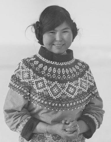 "Alfred Stefansson, ""Gertrud in beaded collar."" n.d. Scott Polar Research Institute, P48/16 241."