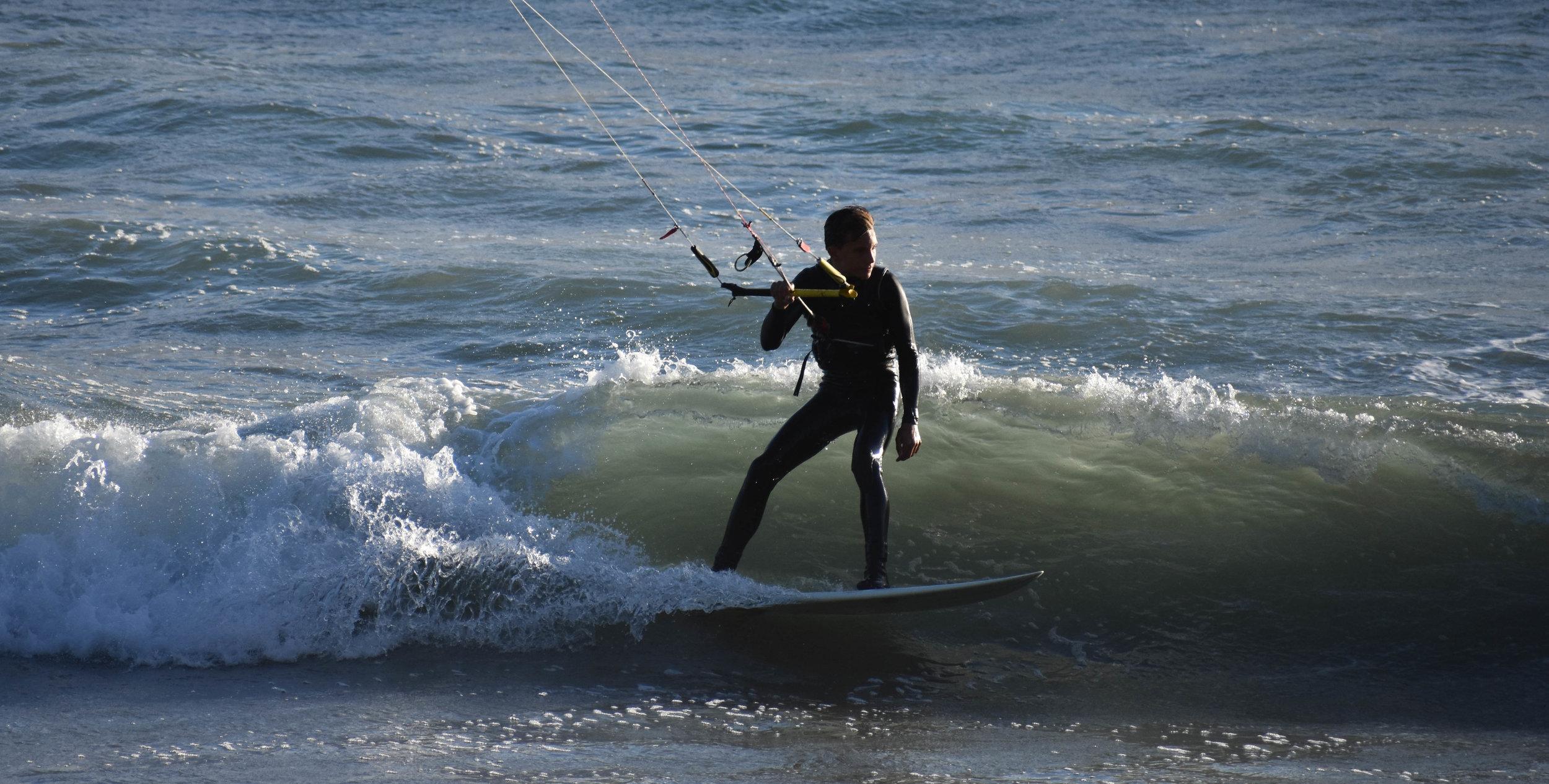 Kitesurfing at Waddell Creek Beach in Santa Cruz, CA