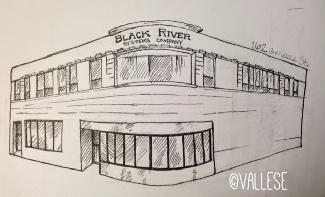 Black River Systems, part of the busy corner, Genesee and Lafayette Streets.