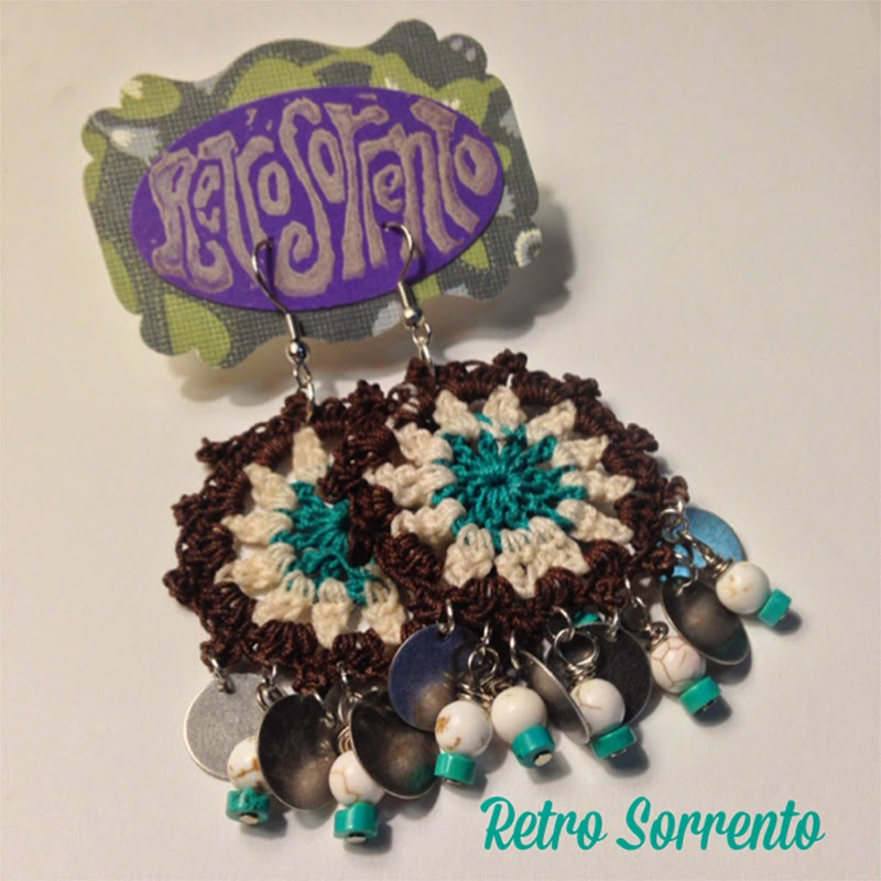 Crochet Chandelier earrings with howlite beads, $24