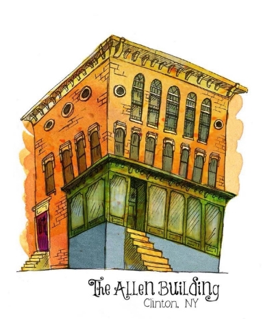 The Allen Building, Clinton NY. Digital mixed media with watercolor and ink.