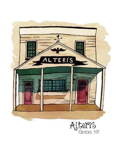 Alteri's Restaurant, Clinton NY. Digital mixed media with watercolor and ink.
