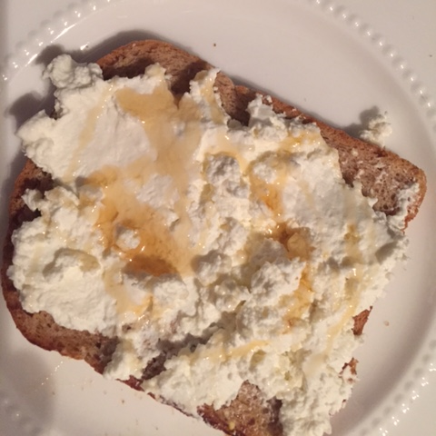 Di Palo's ricotta with honey on toast.