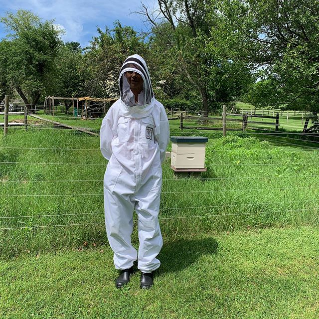 Suited up for the hive or moon landing @buttonwoodfarmliving