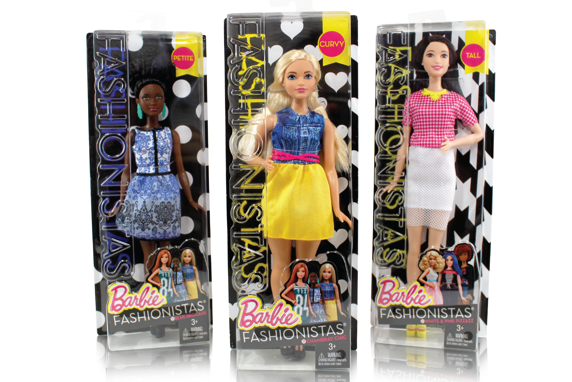 Was lead designer on Project DAWN (Introduction of New Body Types for Barbie). Exploring pattern options for each doll, exploring communicaton for body type and co-art directing final photo shoot.