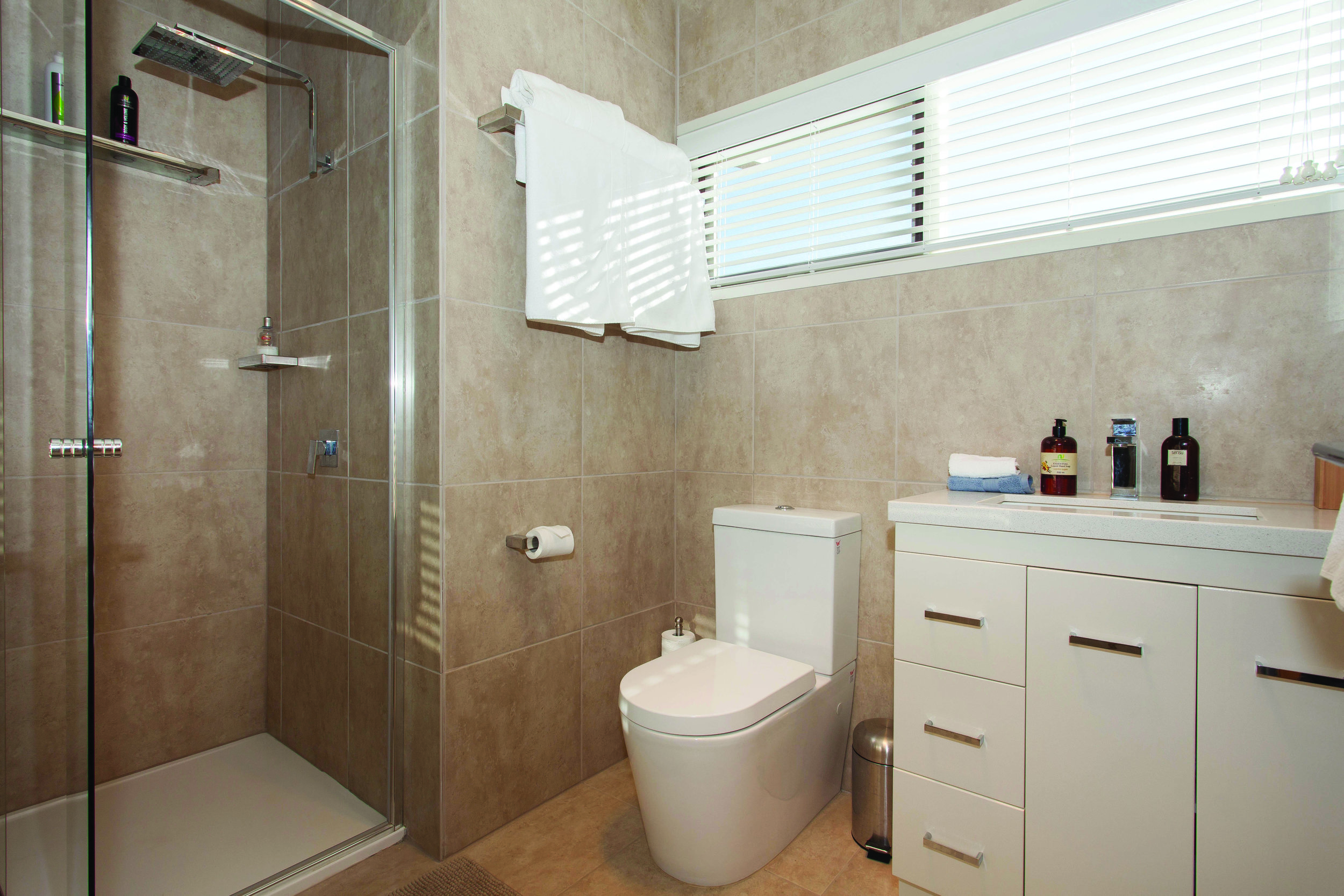 2 bathrooms - Main with large luxurious bath and shower, ensuite with overhead rain shower