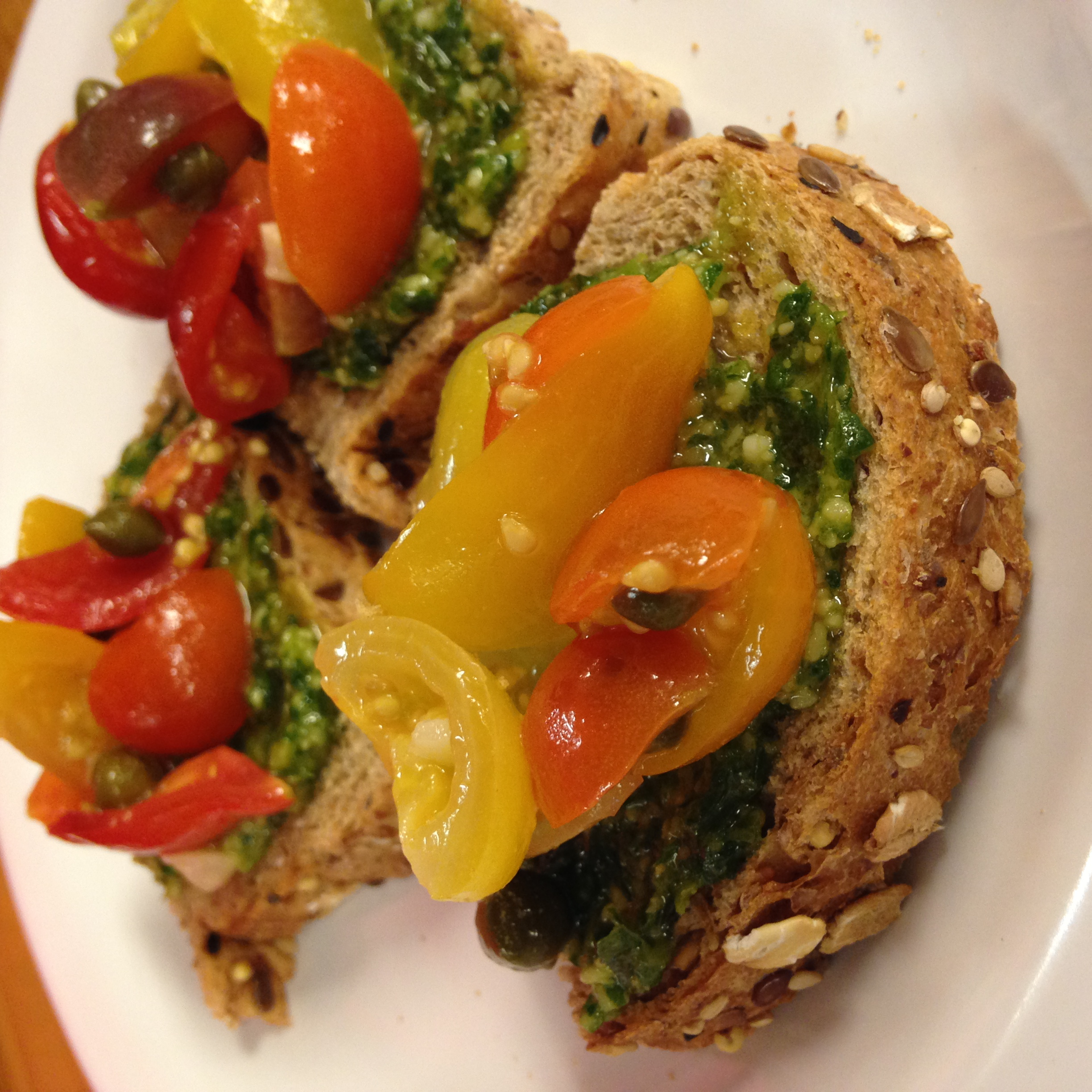 Our Killer Cafe chefs dreamed up this delectable delight! sweet tomatoes and the pesto kick are like magic in your mouth!