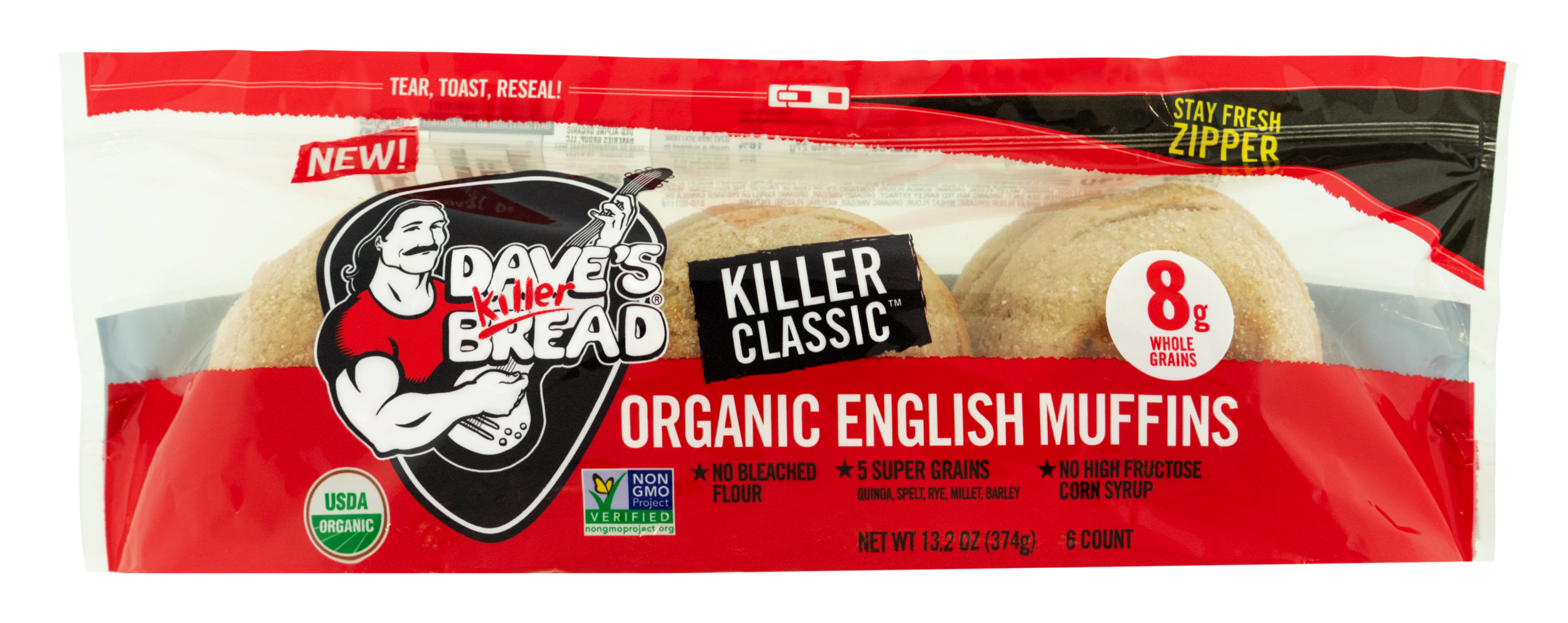 KILLER. ROCKIN'. MUFFINS. - Power-packed with 5 super grains (quinoa, spelt, rye, millet and barley), with no bleached flour or high fructose corn syrup, they're killer awesome!