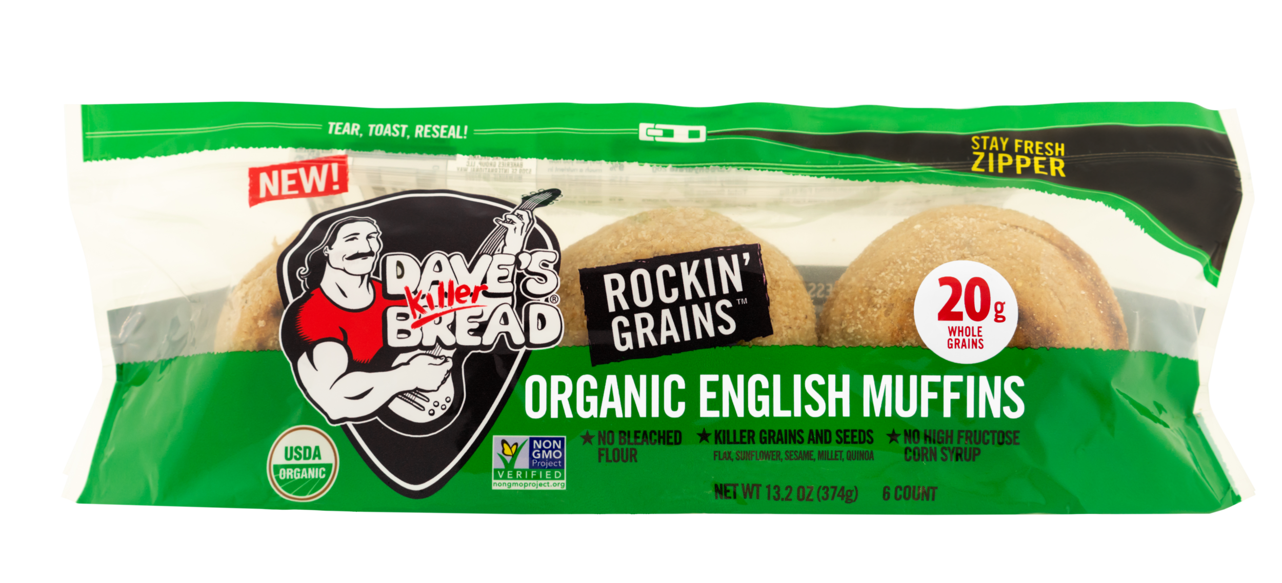 KILLER. ROCKIN'. MUFFINS. - Power-packed with killer grains and seeds (flax seeds, sunflower seeds, sesame seeds, millet and quinoa,) and no bleached flour or high fructose corn syrup, they'll rock your world.