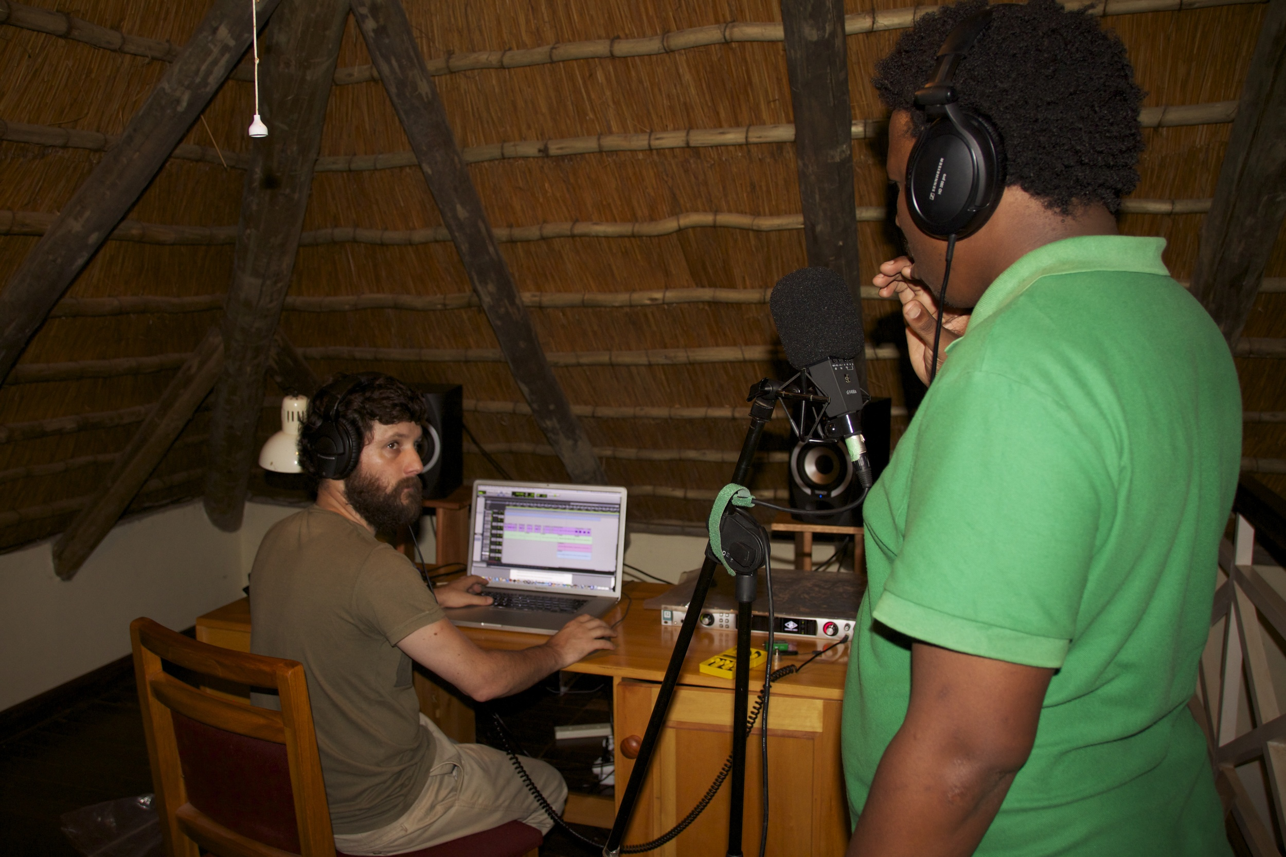 The new studio with Swazi artist Bholoja recording vocals for a new album..jpg