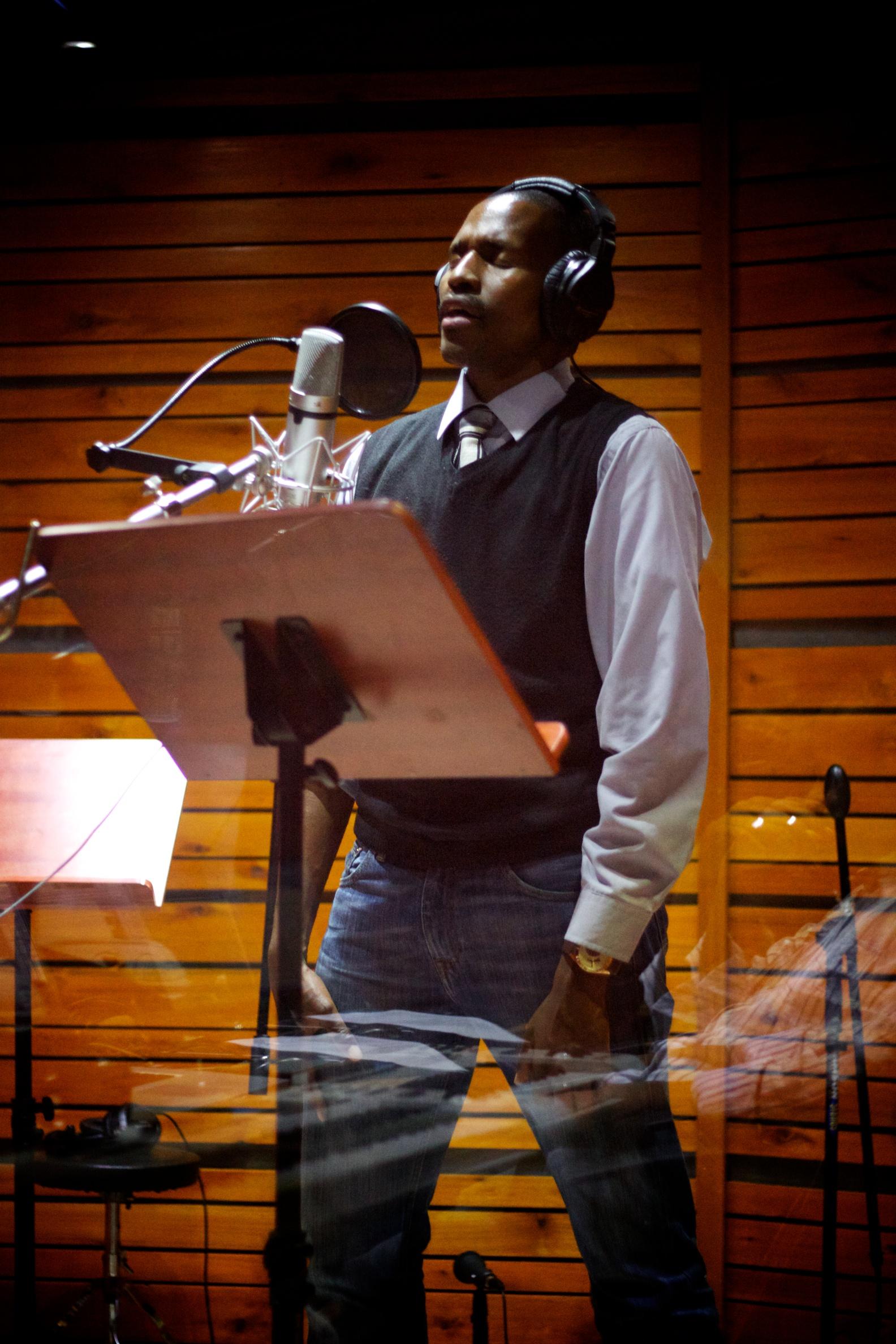 Dusty Simelane recording a track for the new Lusweti album Sitawuphumelela - Songs of Hope.jpg