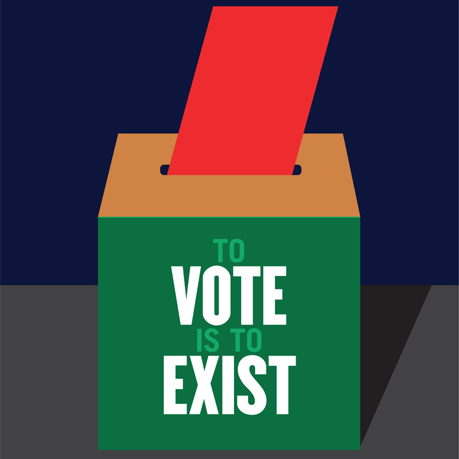 "Get Out and Vote poster designed by Milton Glasser. ""Full participation in the electoral process protects our ideals,"" said the designer, who co-founded New York magazine and created the famous I Heart NY logo."