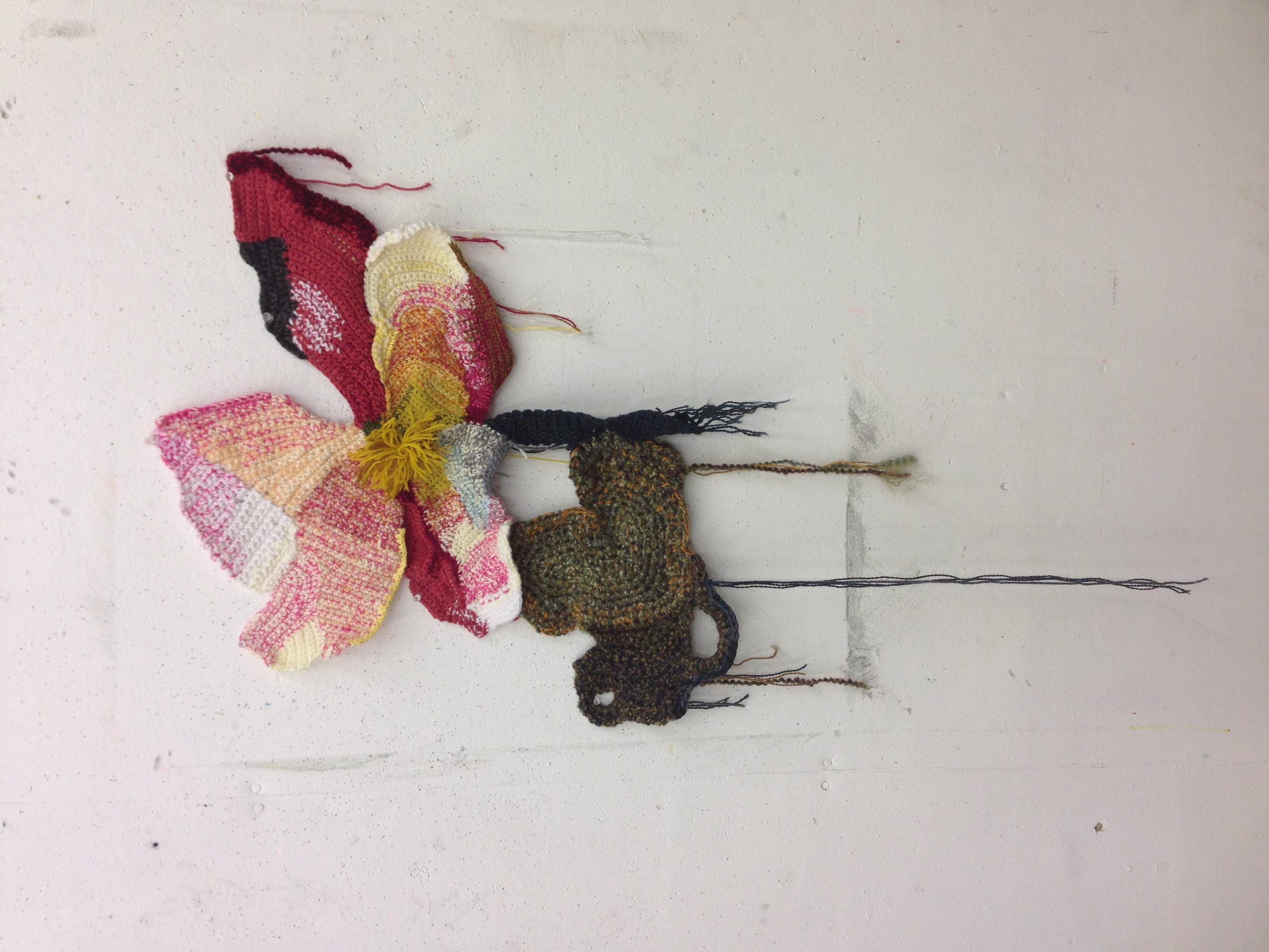 My finished project during the week at Arrowmont School of Arts and Crafts – a crocheted flower in a style similar to Jo Hamilton's.