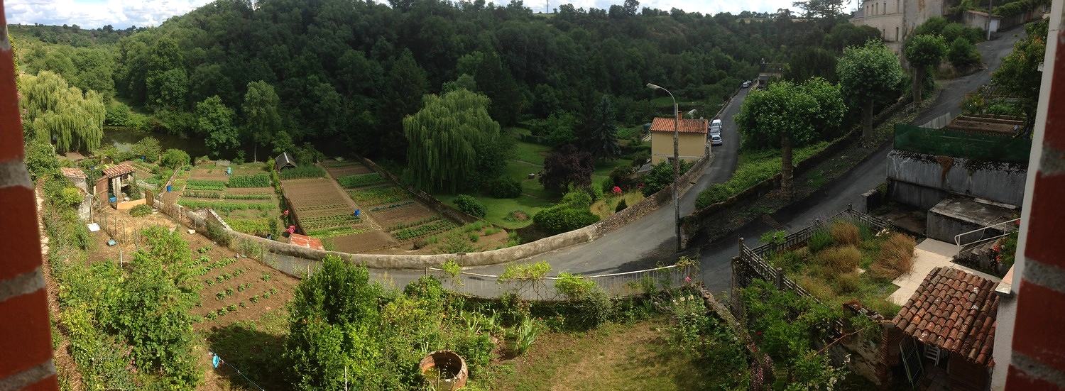 The panoramic view from our living room window in Argenton-Chateau. Everyone grows a vegetable garden! You can see the river behind the farther gardens as well.
