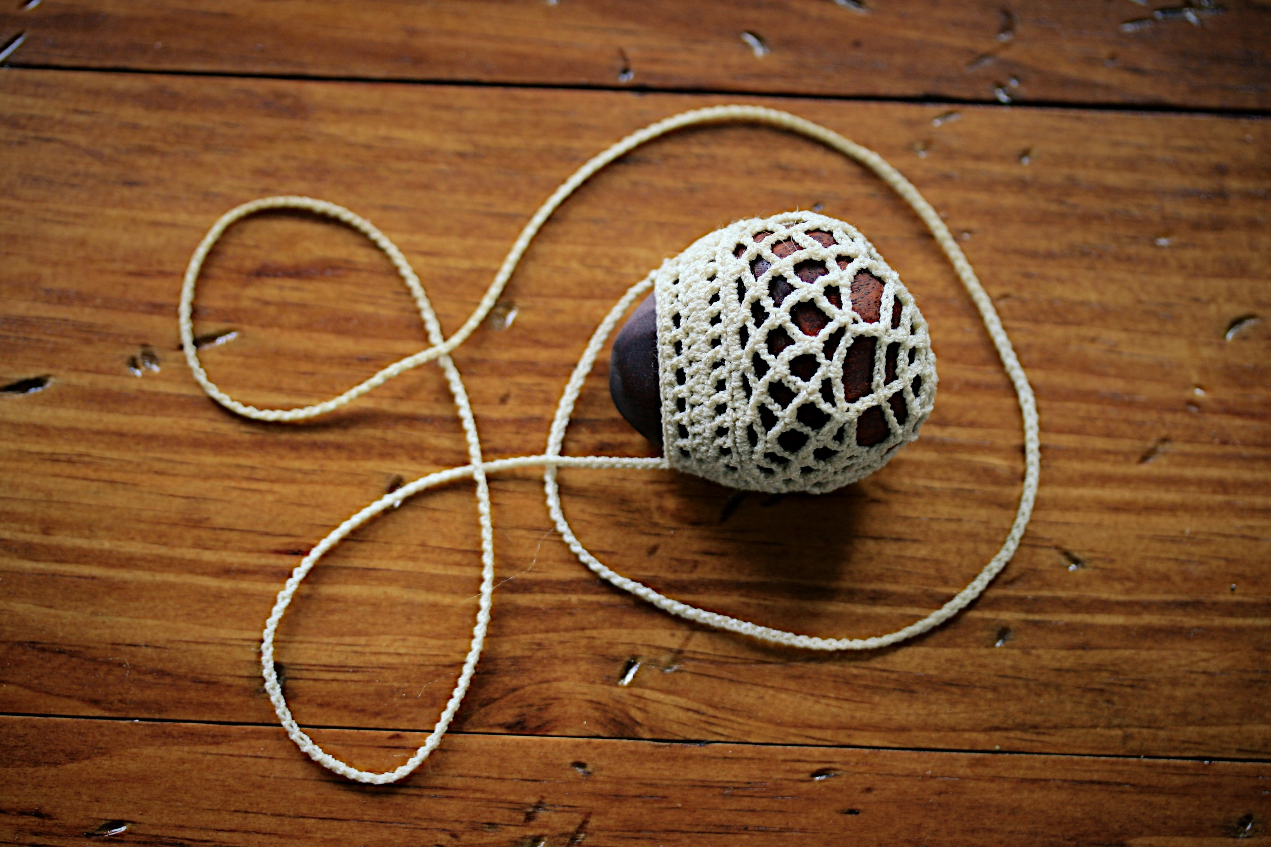 """Crochet Necklace with hand carved wooden """"stone"""", 2014."""