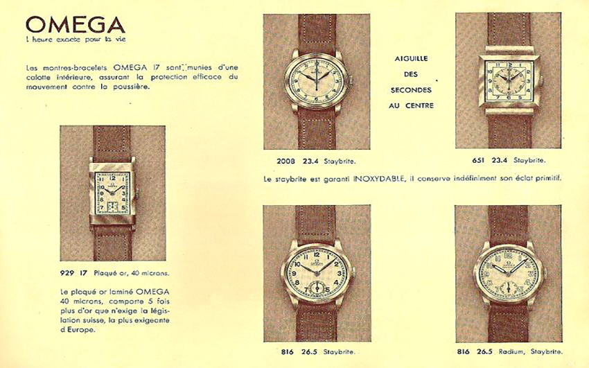 Omega catalogue ca. 1937 showing CK 651 (one of several dial variations offered)