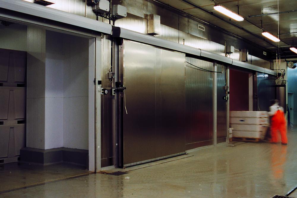 Kjøleport - fryseport   Fresvik Produkt leverer kjøle- og fryseportar etter ønska mål. Manuelt eller elektrisk drevet.   Les meir