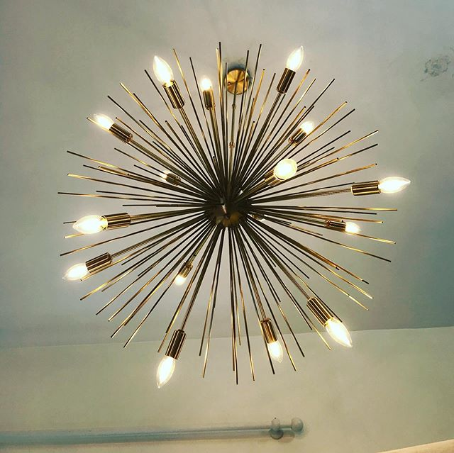 Installing lighting #Sputnik #lighting #renovation #interiordesign