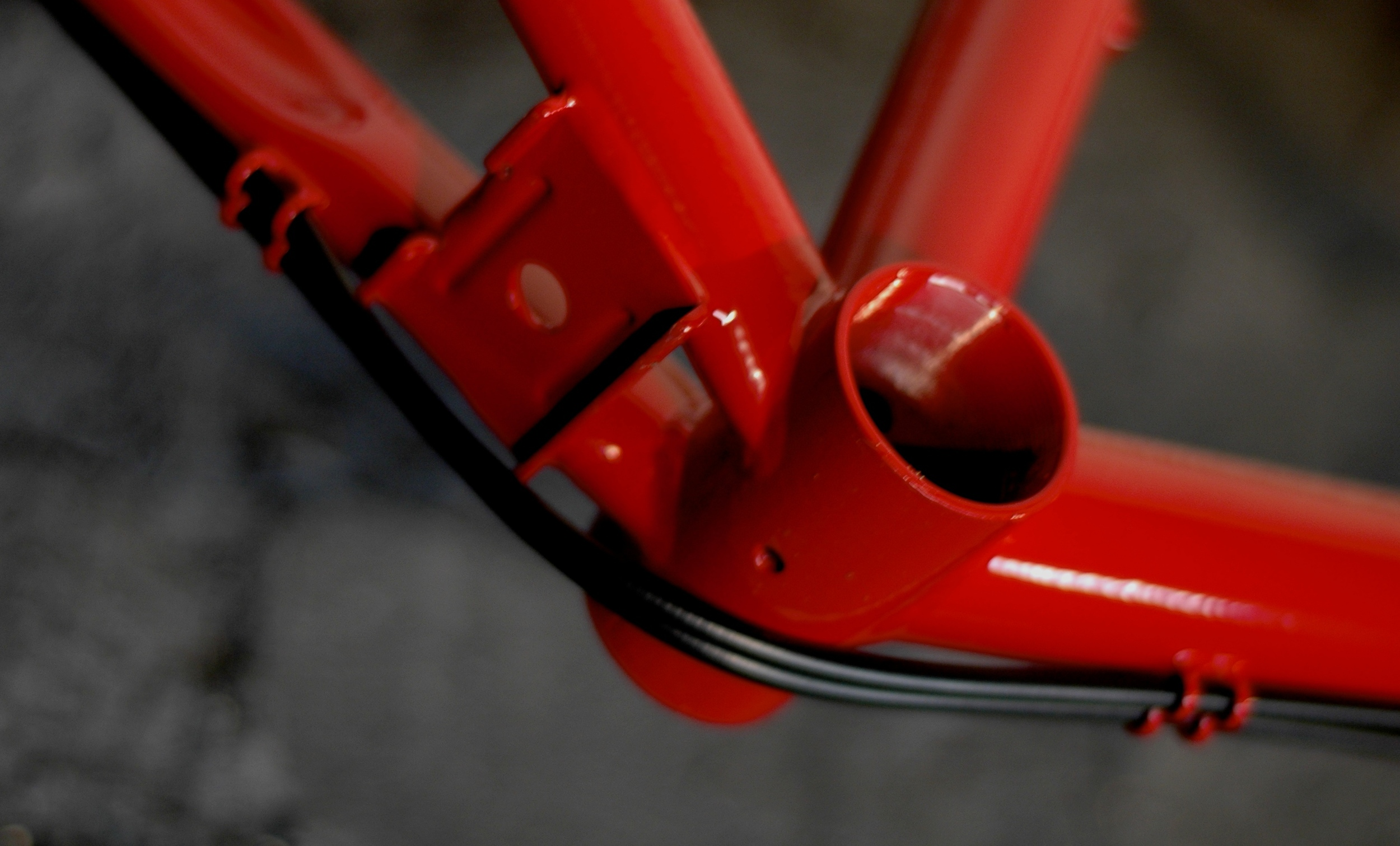 A close-up of our touring frame's bottom bracket shell