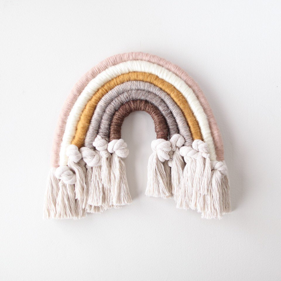 Neutral and Knotted Fiber Rainbow Wall Hanging