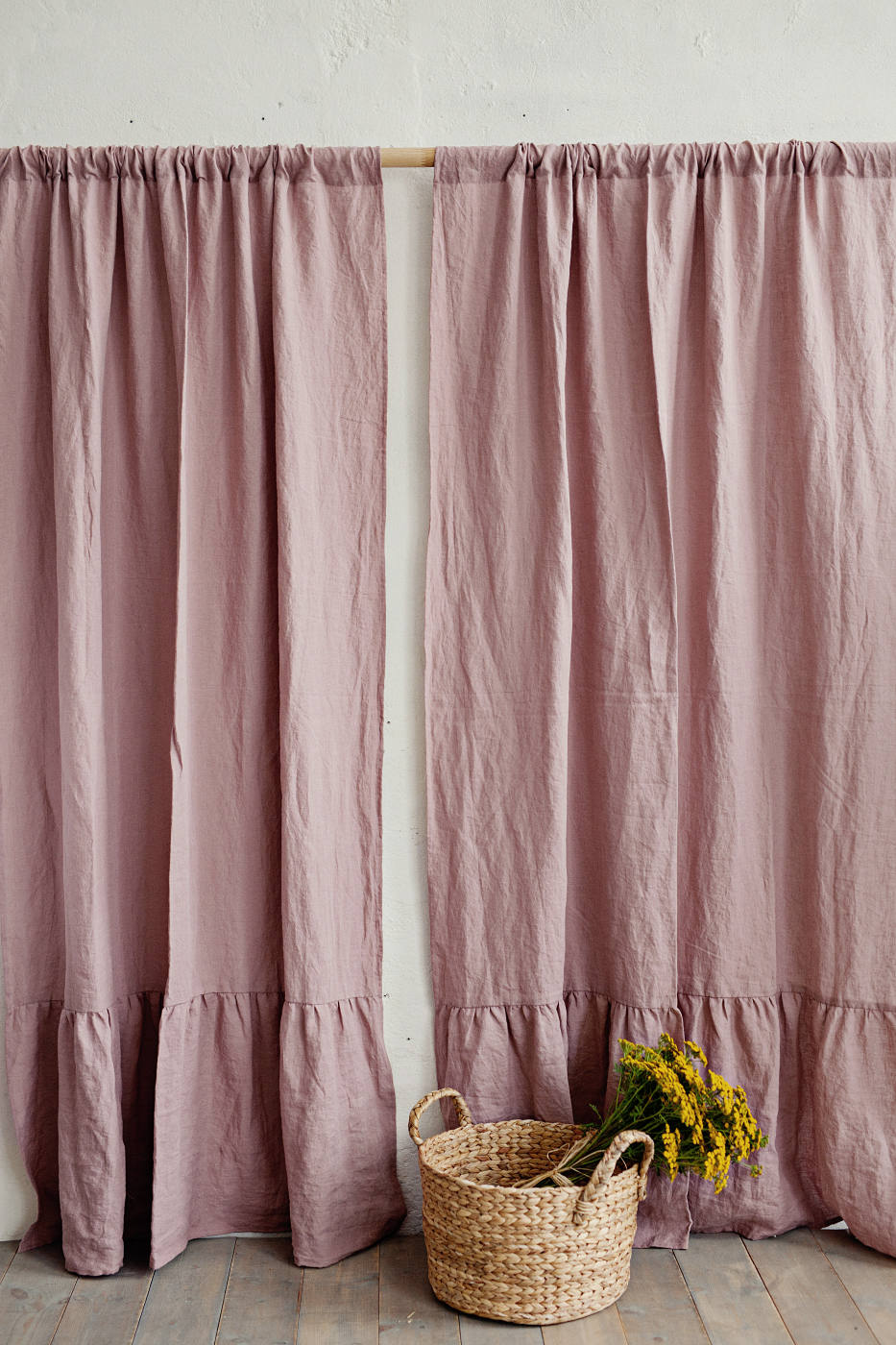 Linen Ruffle Curtain