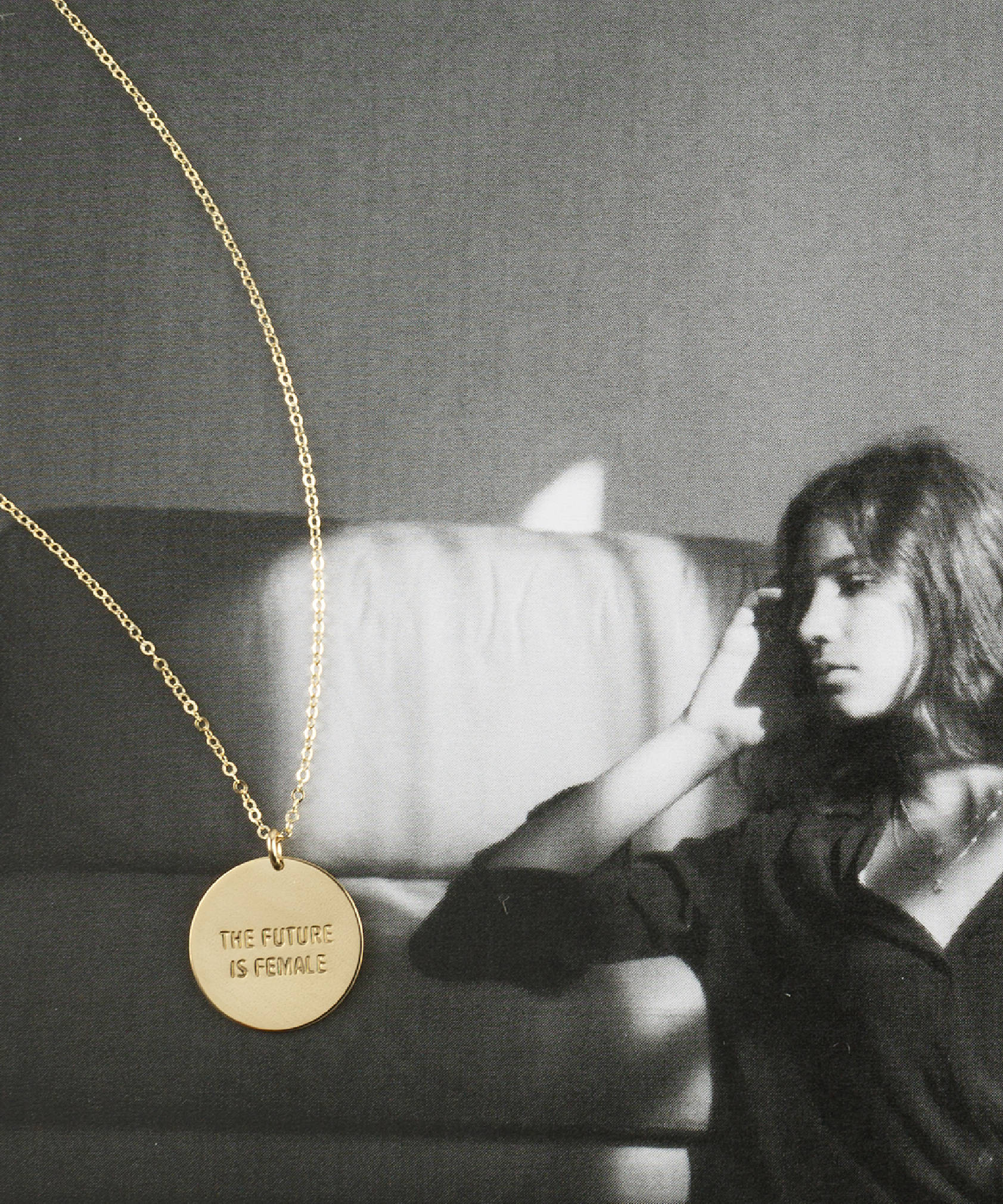 The Future is Female Disk Necklace