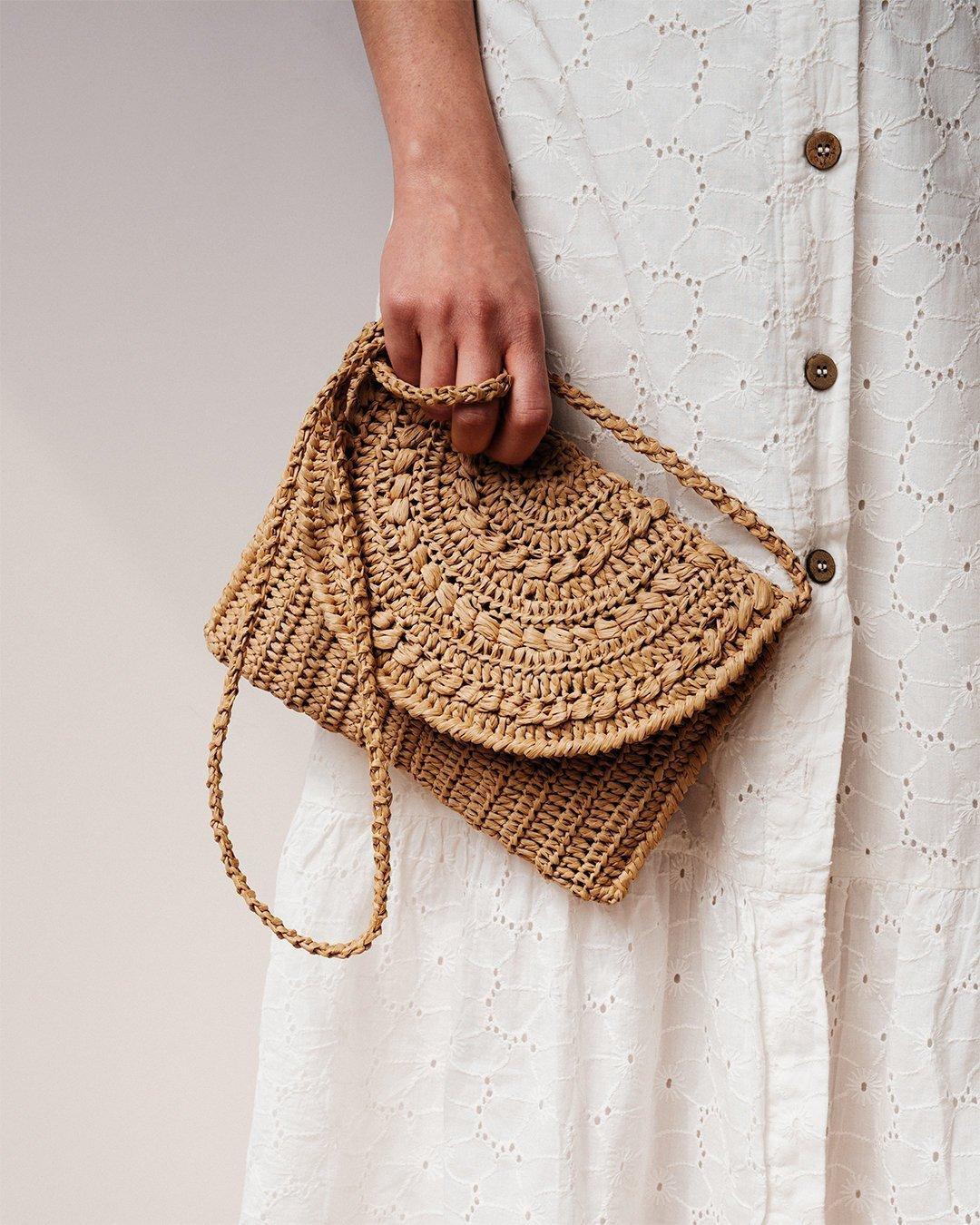 Crochet Raffia Clutch Purse