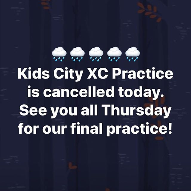 . 🌧🌧🌧 Practice is cancelled today. 🌧🌧🌧 . 🎉See you Thursday for our end of season celebration!