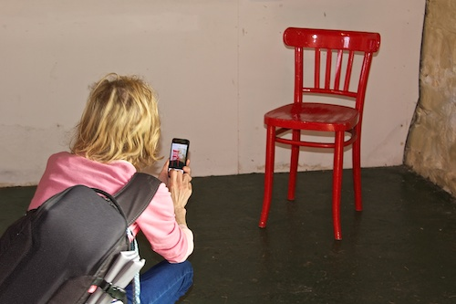 I couldn't resist the red chair but why did I sit on the floor?