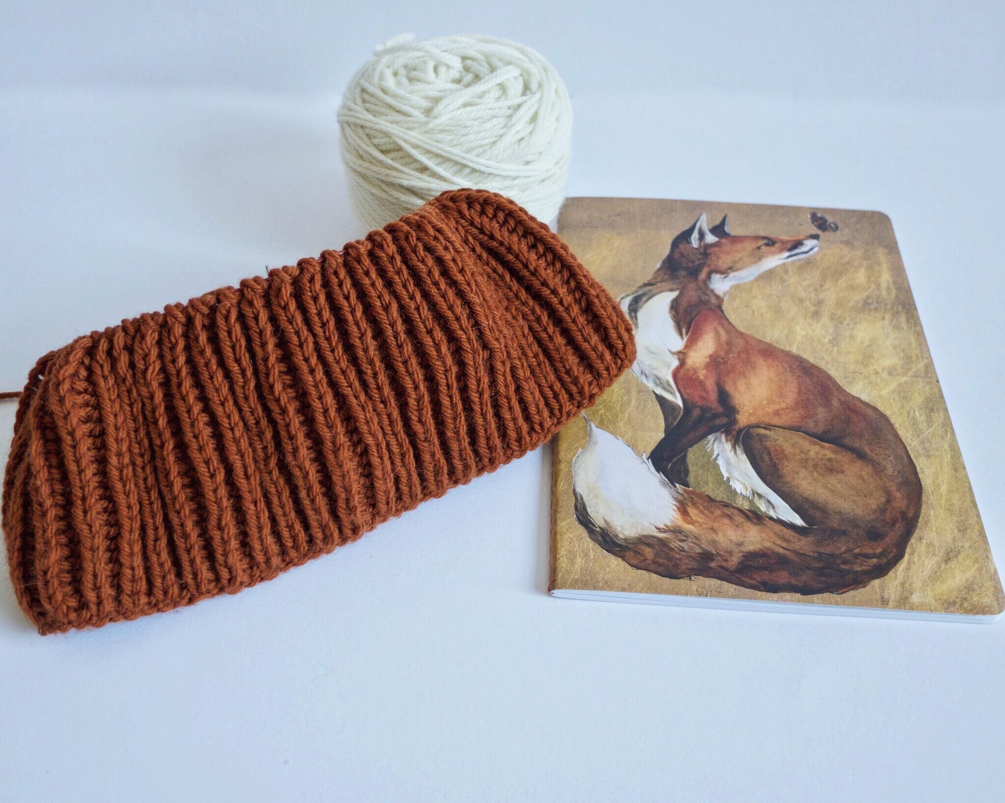 Brioche stitch hat with Mr fox