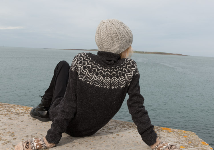 Harbouring peaceful thoughts (hiding how cold I was) Copeland Island in the distance