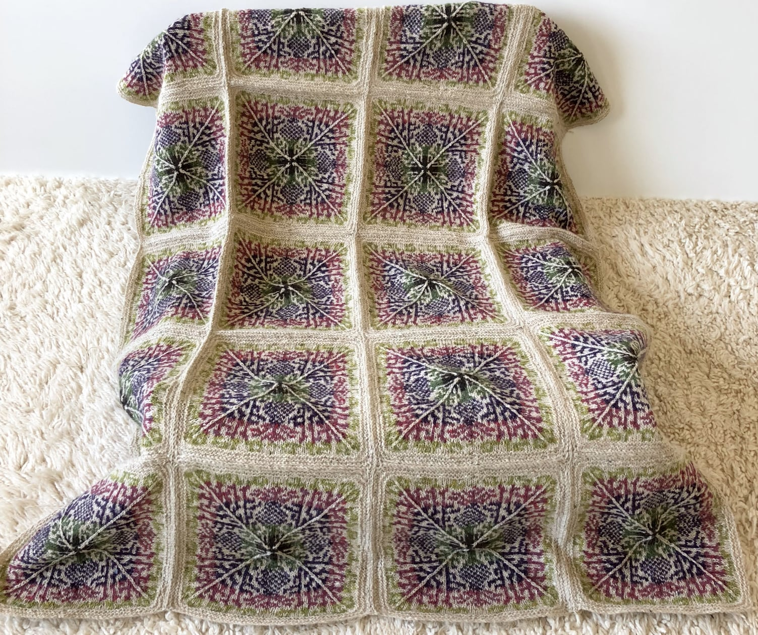 knitting thistles, stitch by stitch, square by square