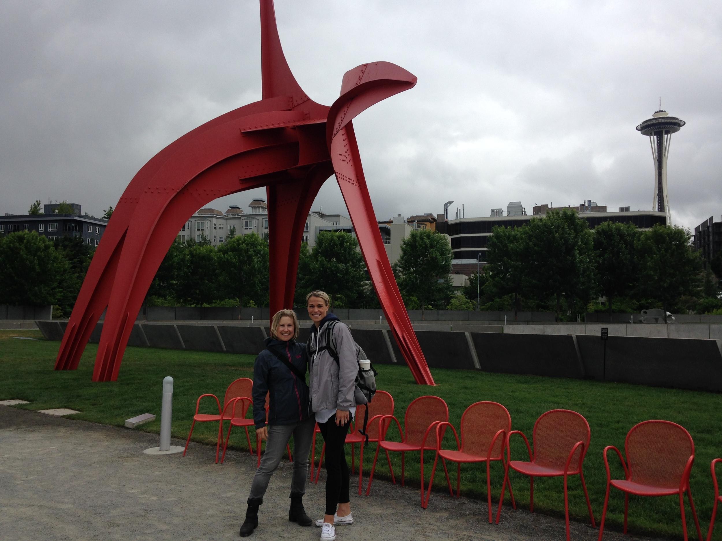 Mrs. Descheemaeker and Mrs. Hammerquist enjoy their day in the city taking in the art.