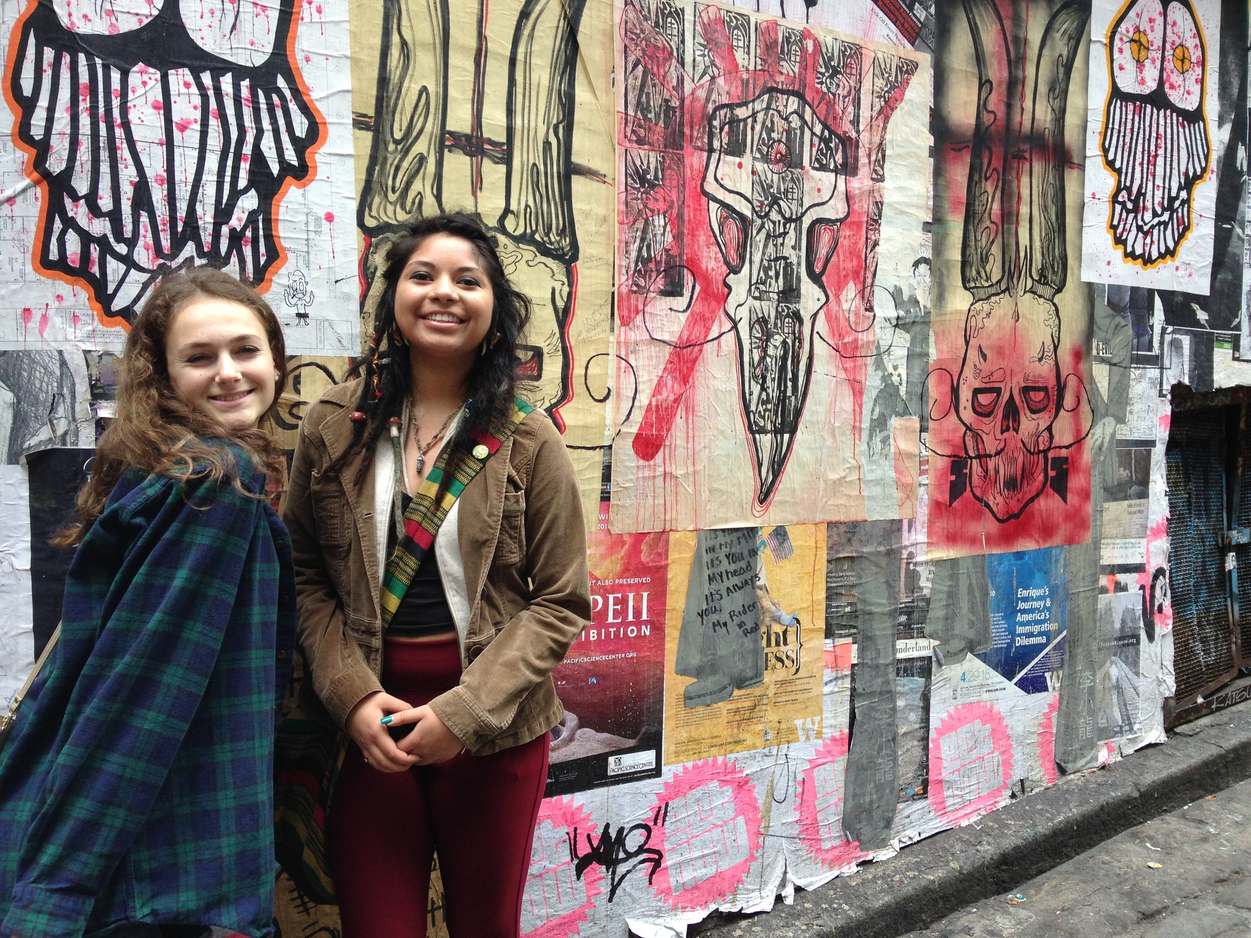 Lily Krueger and Aracely Cortez love the street art of Post Alley.