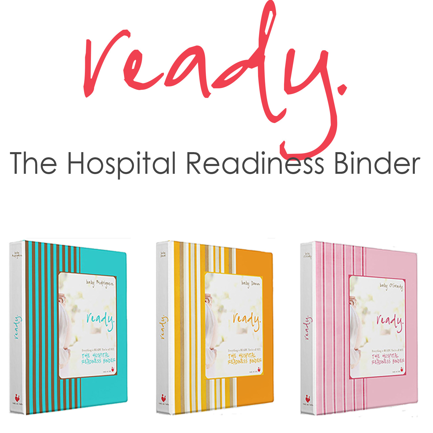 A one -of-a kind personalized prenatal organizer to help prepare for labor, delivery and the hospital.
