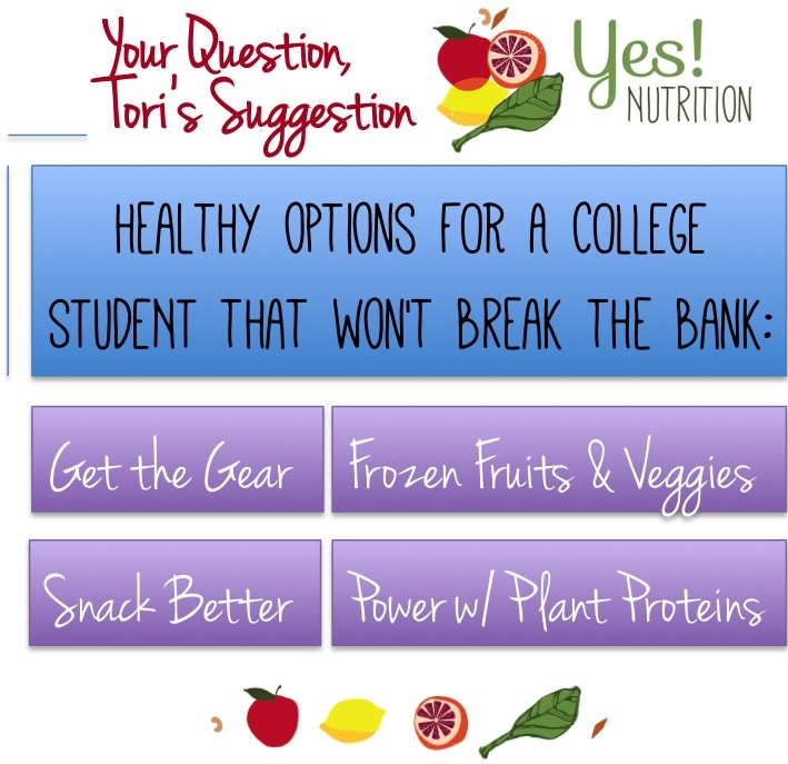 Healthy Ideas For College Students From YES! Nutrition, LLC and Tori Holthaus, MS, RDN, LD